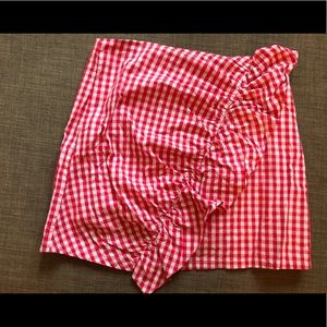 Lulus red and white gingham skirt
